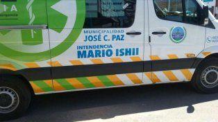 Las ambulancias con el nombre del intendente Mario Ishii (José C. Paz)