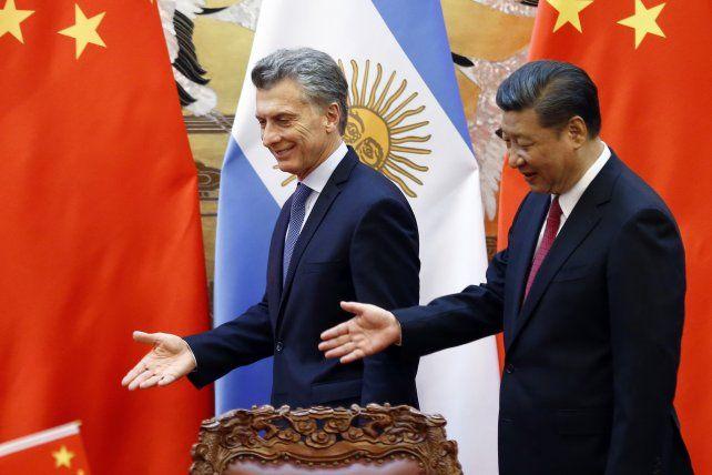 El presidente Mauricio Macri y su par de China