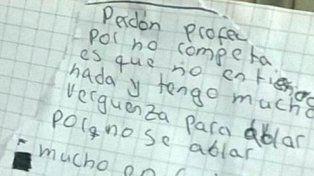 La carta que el joven estudiante le escribió a su profesor.