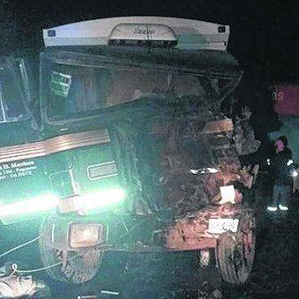 El camión Fiat impactado.