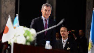 Macri ingresa al recinto del Foro Económico Japón-Argentina.
