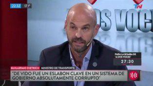 Dietrich negó que el gobierno nacional encubra a Julio De Vido