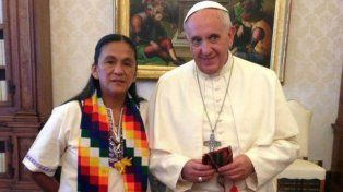 La dirigente de la Tupac Amaru en su visita al Vaticano, donde se reunió con el Papa Francisco.