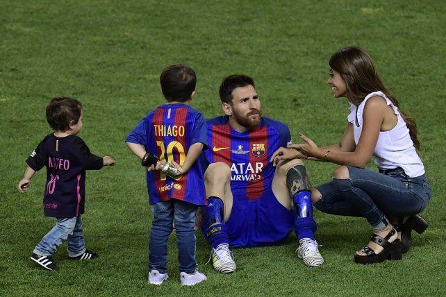 Messi festejó con su familia el nuevo título