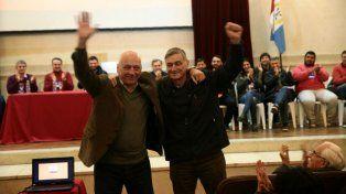 Referentes. Bonfatti y Binner, dos de los dirigentes que ayer se encargaron de los discursos políticos.