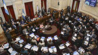 Cámara alta. Vista del recinto del Senado de la Nación durante su sesión de ayer.