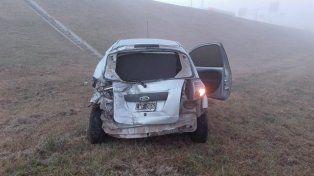 Uno de los automóviles se despistó esta mañana.