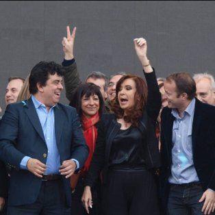 Cristina junto a Scioli, Espinoza y Insaurralde.