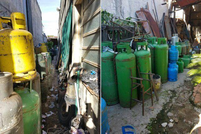 Las imágenes del depósito de garrafas que fue clausurado por falta de seguridad e higiene.