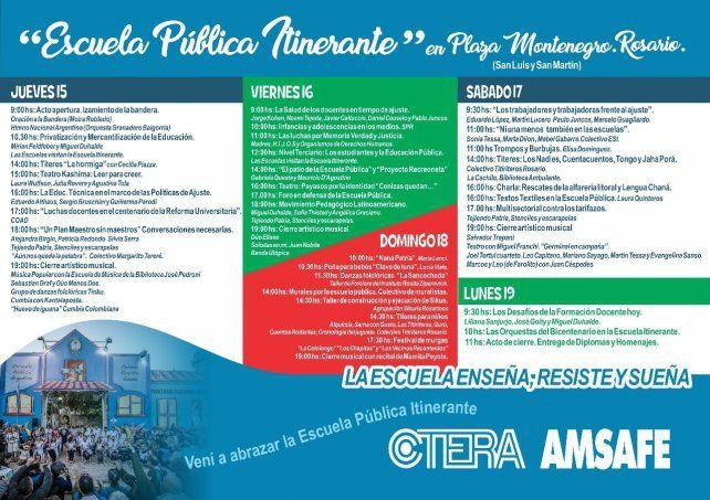 Con múltiples charlas y actividades culturales, arranca la Escuela Itinerante en Rosario