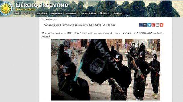 El mensaje intimidatorio que adjudicaron a ISIS en el hackeo a la web del Ejército.
