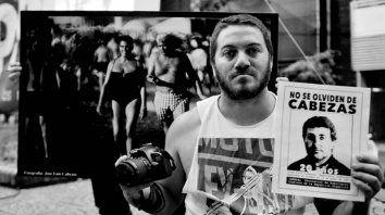 Compromiso. Amaya, en una manifestación por José Luis Cabezas.