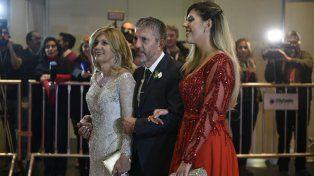 Los padres y la hermana de Lionel también pasaron por la alfombra roja