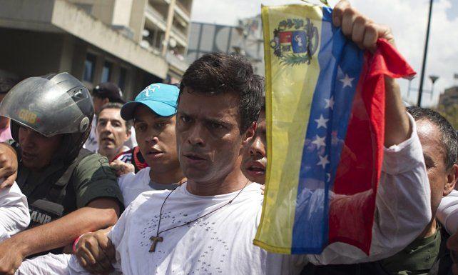 El líder opositor Leopoldo López durante una manifestación.