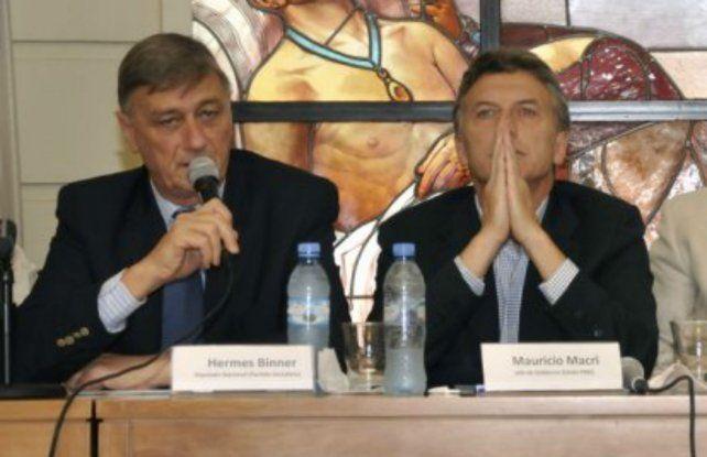 Hermes Binner y Mauricio Macri