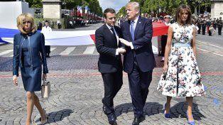 Macron y Trump durante los actos de esta mañana en París.