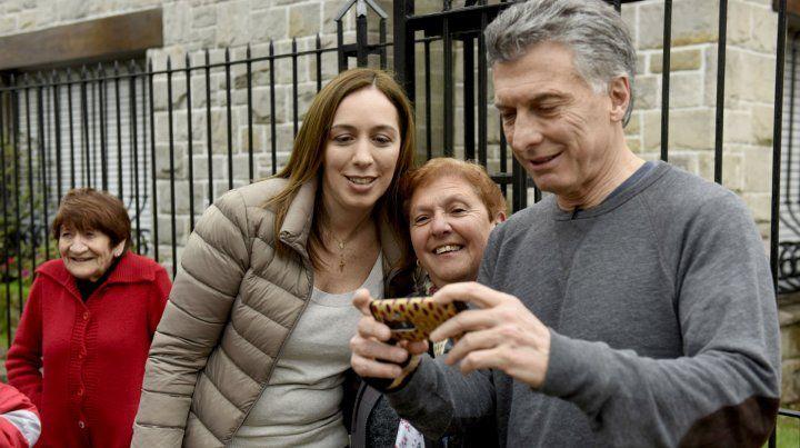 Contacto. Macri y Vidal encabezaron el timbreo nacional de Cambiemos.