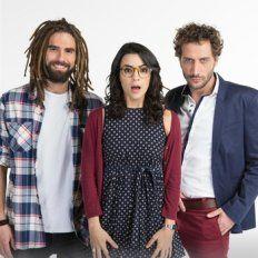 sorpresa. Nicolás Furtado, Agustina Cherri y Luciano Cáceres, sin aire.
