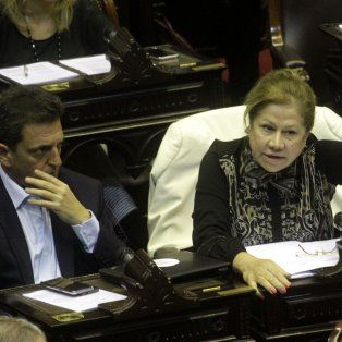 Los diputados nacionales Sergio Massa y Graciela Camaño, del Frente Renovador, durante la sesión en la Cámara Baja.