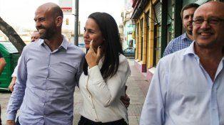Juntos. Anita recorrió obras en Rosario con el ministro Dietrich.