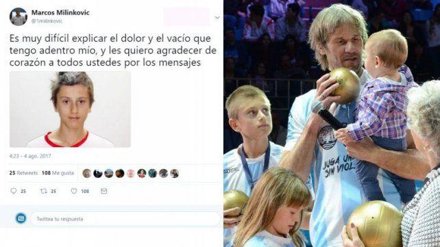 El triste mensaje que Marcos Milinkovic escribió en Twitter por la muerte de su hijo Luka