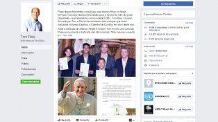 Toni Reis publicó en Facebook la carta que le enviaron desde el Vaticano.