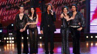 Tinelli, Robles y Rucci el día de la final del Bailando en 2007.