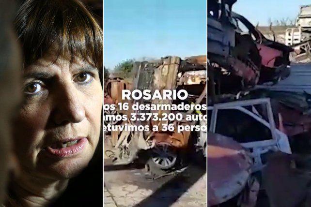 En las redes. Bullrich publicó un video con las autopartes incautadas en distintos puntos de Rosario.