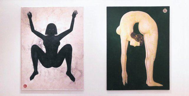 Acróbatas. Obras de Daniel García expuestas en el espacio de arte del teatro El Círculo.
