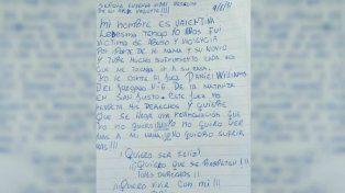 La carta que escribió Valentina de puño y letra.