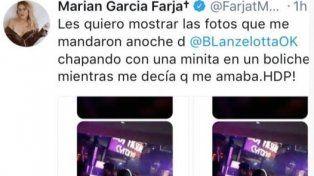 Marian Farjat escrachó a Brian Lanzelotta con una foto muy cerca de una chica en un boliche