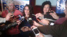 La concejal Norma López durante una rueda de prensa en el búnker del Frente Unidad Ciudadana.