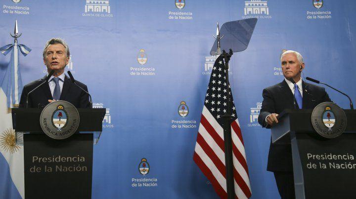 El presidente Mauricio Macri se reunió a solas con vice presidente Mike Pence