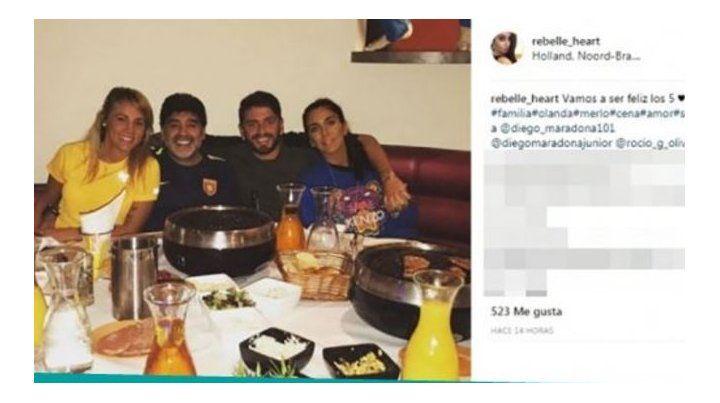 Las fotos que confirman la reconciliación entre Maradona y Rocío Oliva en Dubai