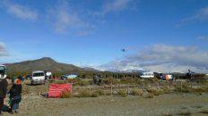cushamen. El lugar cercano al río Chubut donde se hizo el rastreo. Esta vez miembros del Pu Lof no intervinieron.