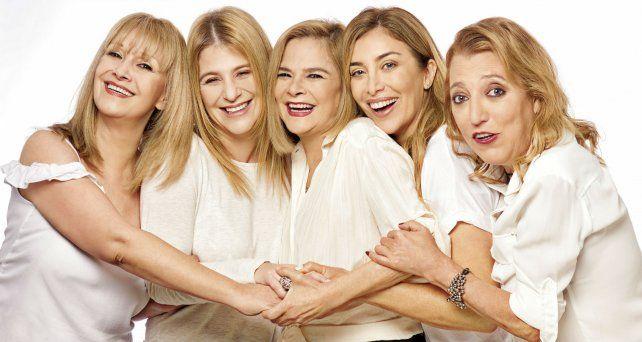 Mimí Ardú, Emilia Mazer, María Leal, Patricia Viggiano y Mariana Prommel (de izq. a der.) exploran el mundo femenino en tono de comedia.