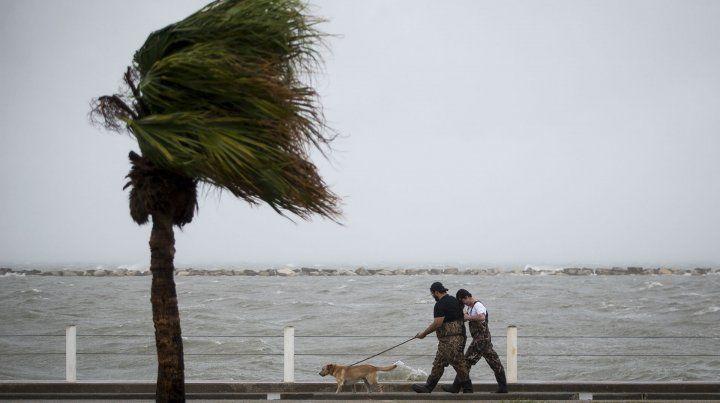 Vientos. Foster Adams pasea su perro con su amigo Bradley Strayer en la ciudad de Corpus Christi.