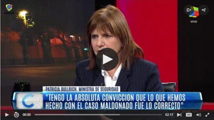 Bullrich dijo que si Macri le pidiera que de un paso al costado por caso Maldonado, lo hará