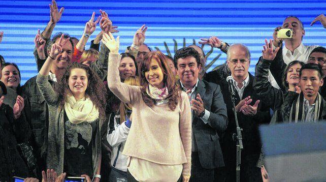 festejo. Cristina y sus candidatos
