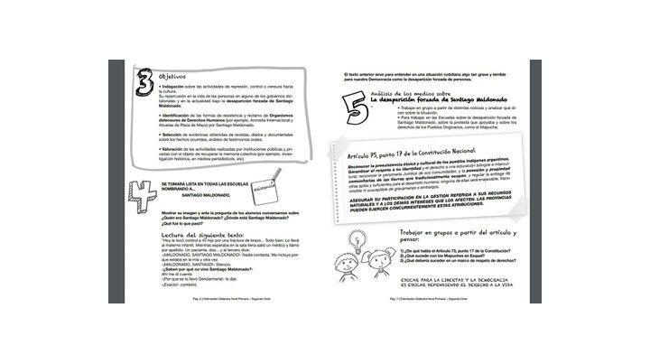 material. Páginas del cuadernillo aparecido ayer en las escuelas y elaborado por los sindicatos.