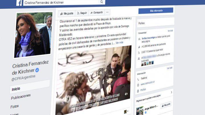 La expresidenta comentó los incidentes de Plaza de Mayo en su página de Facebook.