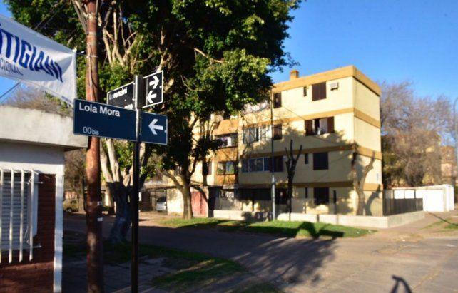 Lola Mora y Lorenzini. El sector de barrio municipal donde ocurrió el homicidio.