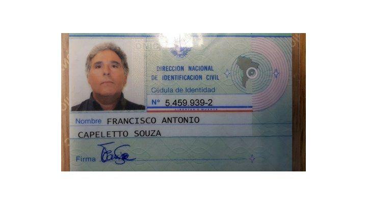 apócrifa. Cédula de identidad falsa emitida por Uruguay: Francisco Capeletto.