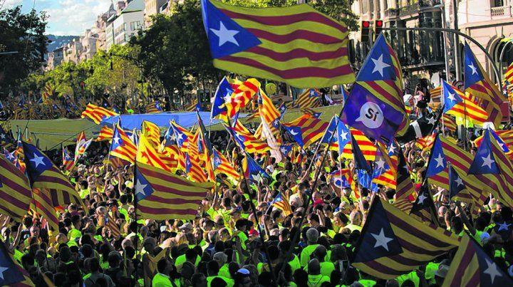 multitud. La marcha del 11 de septiembre volvió a convocar a gran cantidad de gente en Barcelona.