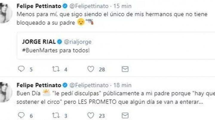 Felipe Pettinato volvió a criticar a su papá en Twitter y prometió contar todo