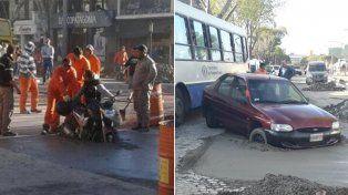 Las imágenes. Dos conductores quedaron atrapados en cemento fresco en avenida San Martín.