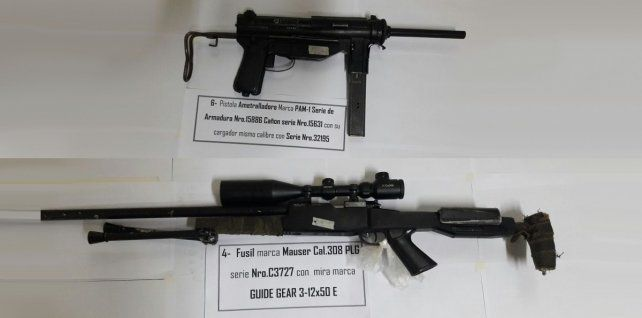 Dos de las armas secuestradas en el allanamiento realizado en la vivienda de Garay al 2800.