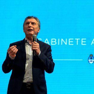 El presidente de la Nación, Mauricio Macri, durante la reunión de gabinete en el CCK.