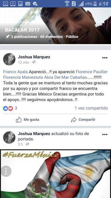 Apareció Franco Ayala, el rosarino que estaba desaparecido tras el terremoto en México