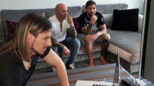 Sampaoli y Messi, con Sebastián Becaccecce